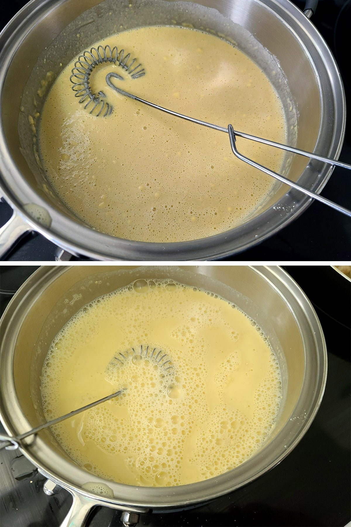 A two part image showing a thin mix of water and chickpea flour, befoer and after it starts to thicken.