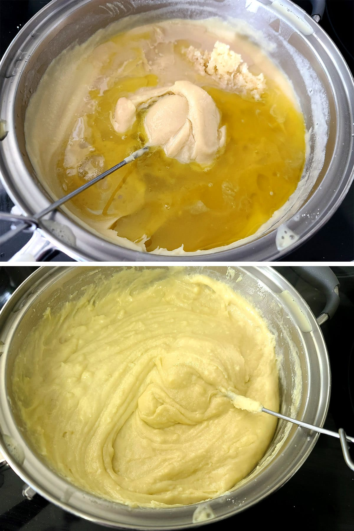Tahini, lemon juice, and olive oil being added to the pot of hummus and mixed in.