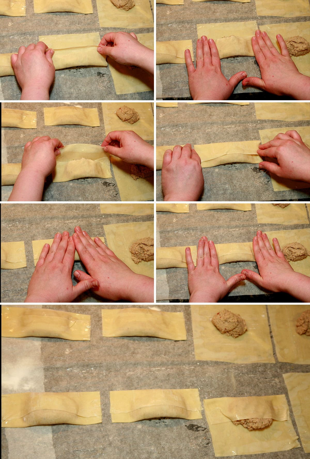 A compilation of 7 images demonstrating how to fold Halifax style egg rolls, per the instructions in the post.