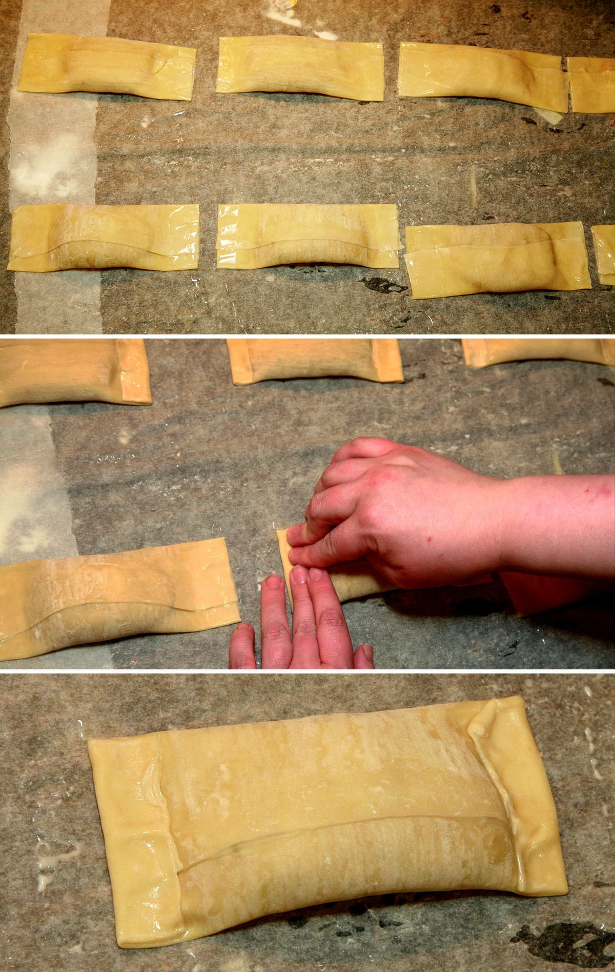 A compilation of 3 images, demonstrating folding over the ends of the egg rolls.