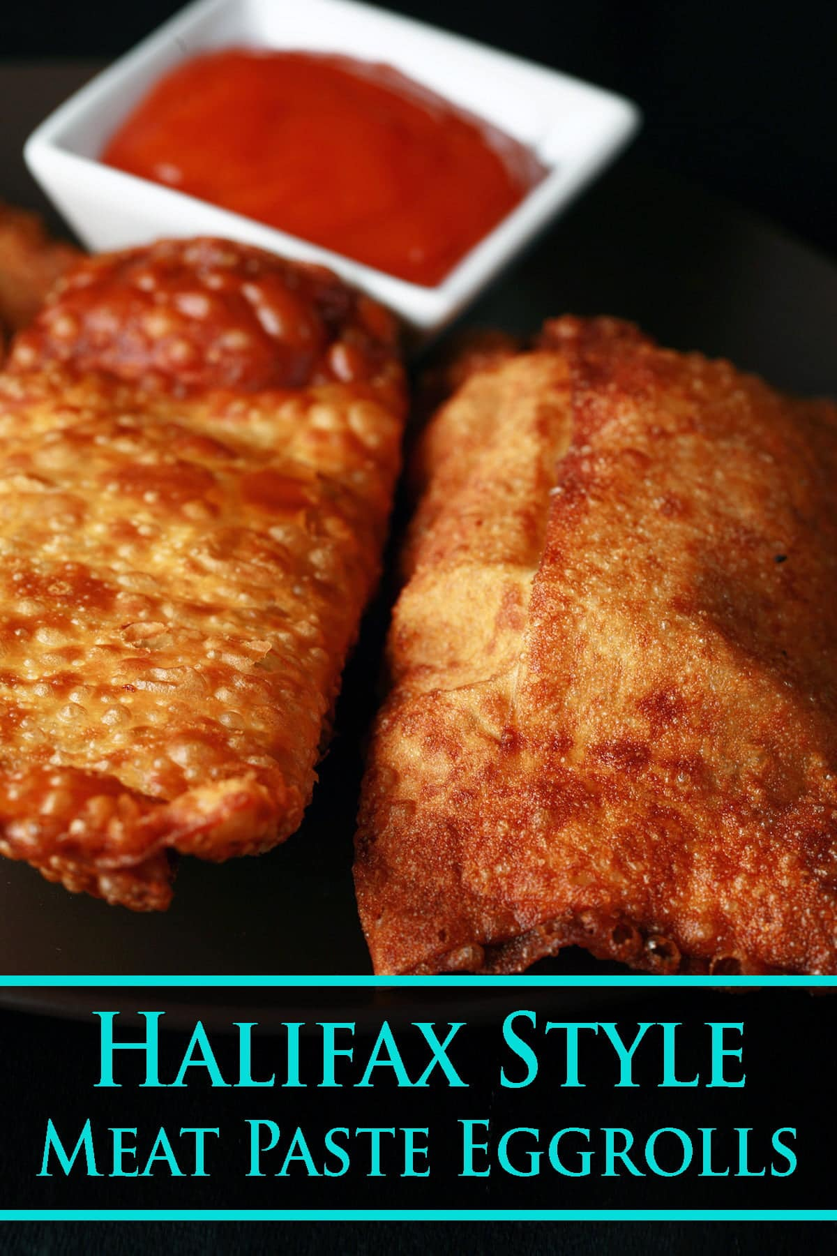 A small round plate holds several halifax style meat paste egg rolls, next to a small bowl of deep orange plum sauce.