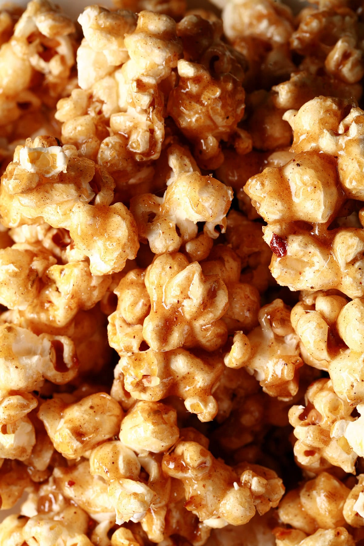 Close up view of a bowl of Moroccan Twist Salted Caramel Popcorn.
