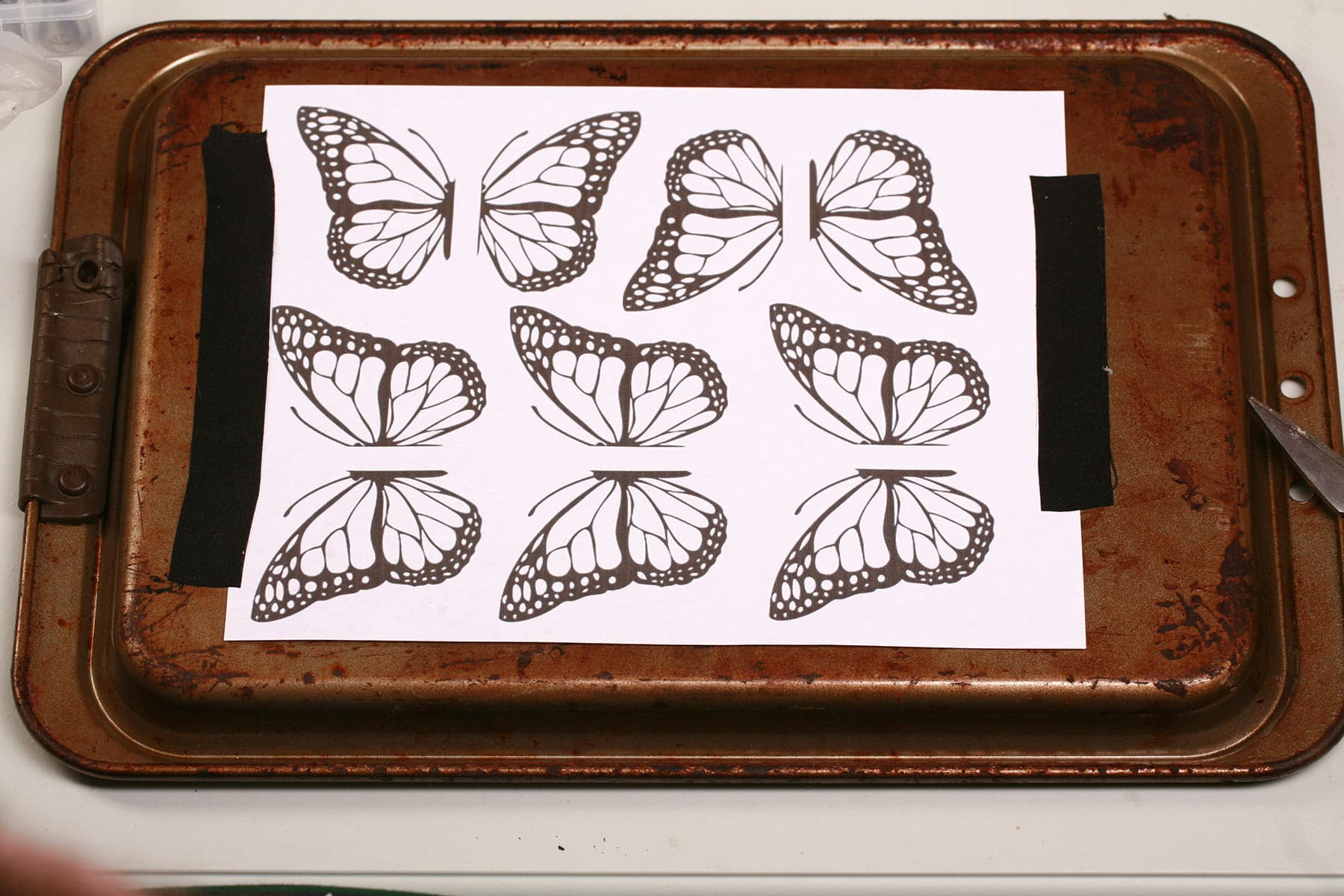 A sheet of paper printed with outline drawings of monarch butterfly wings, taped to the back of a baking sheet.
