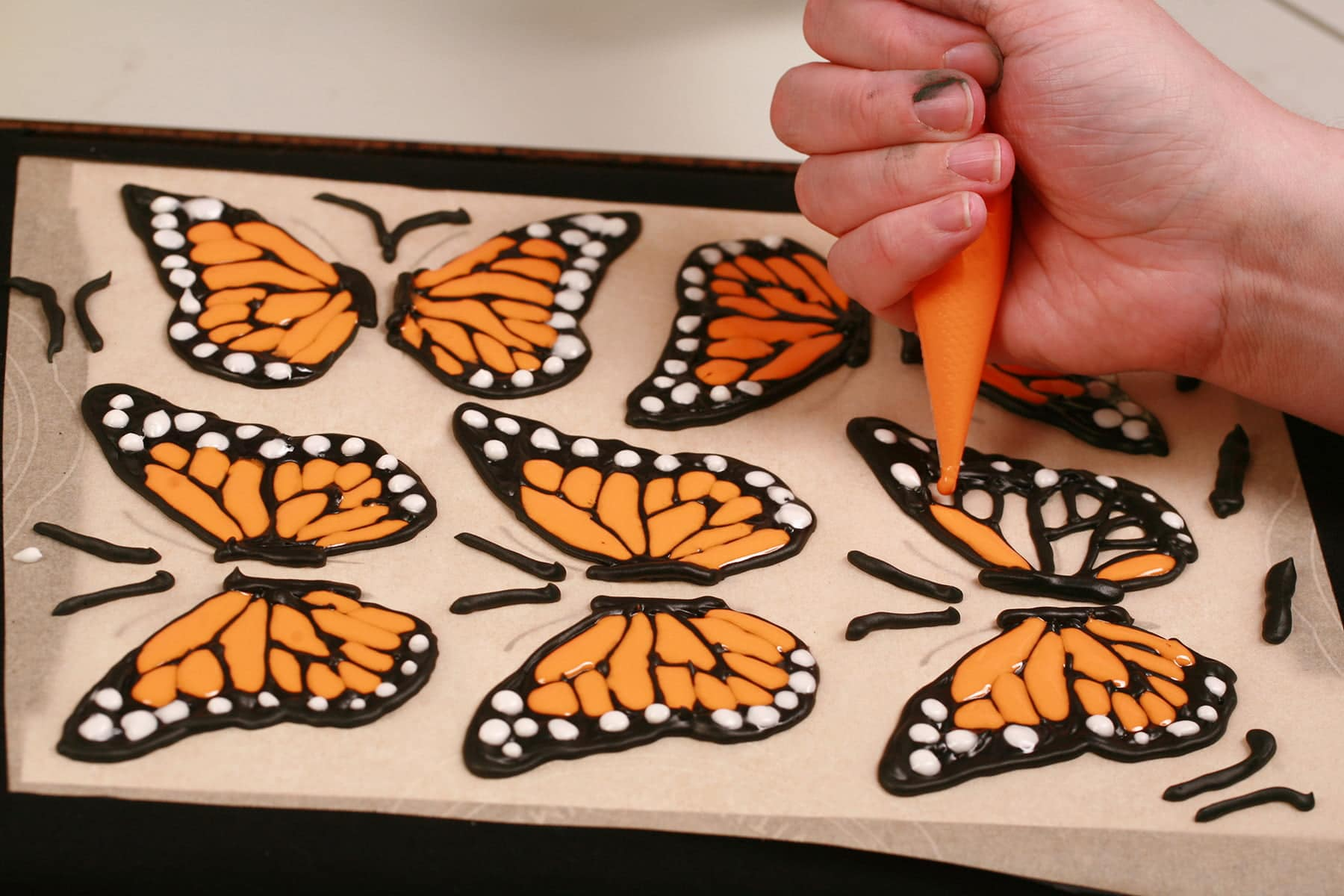 A hand uses a pastry bag full of orange royal icing to fill in the outlines of a monarch butterfly wing.