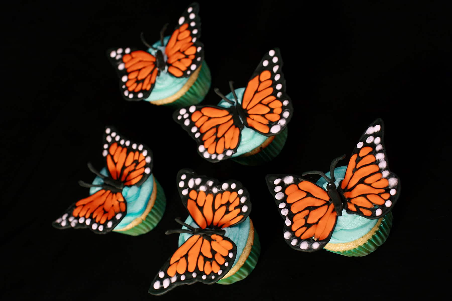 Several 3D Monarch Butterfly Cupcakes, on a black background.  Vanilla cupcakes, frosted with sky blue icing, and topped with Monarch butterfly wings made from royal icing.
