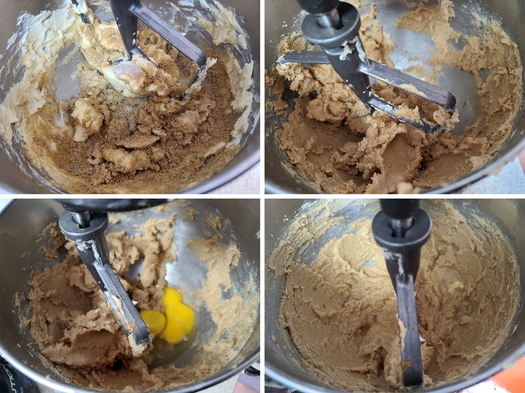 Butter and sugar being creamed together in a stand mixer, eggs and vanilla added.