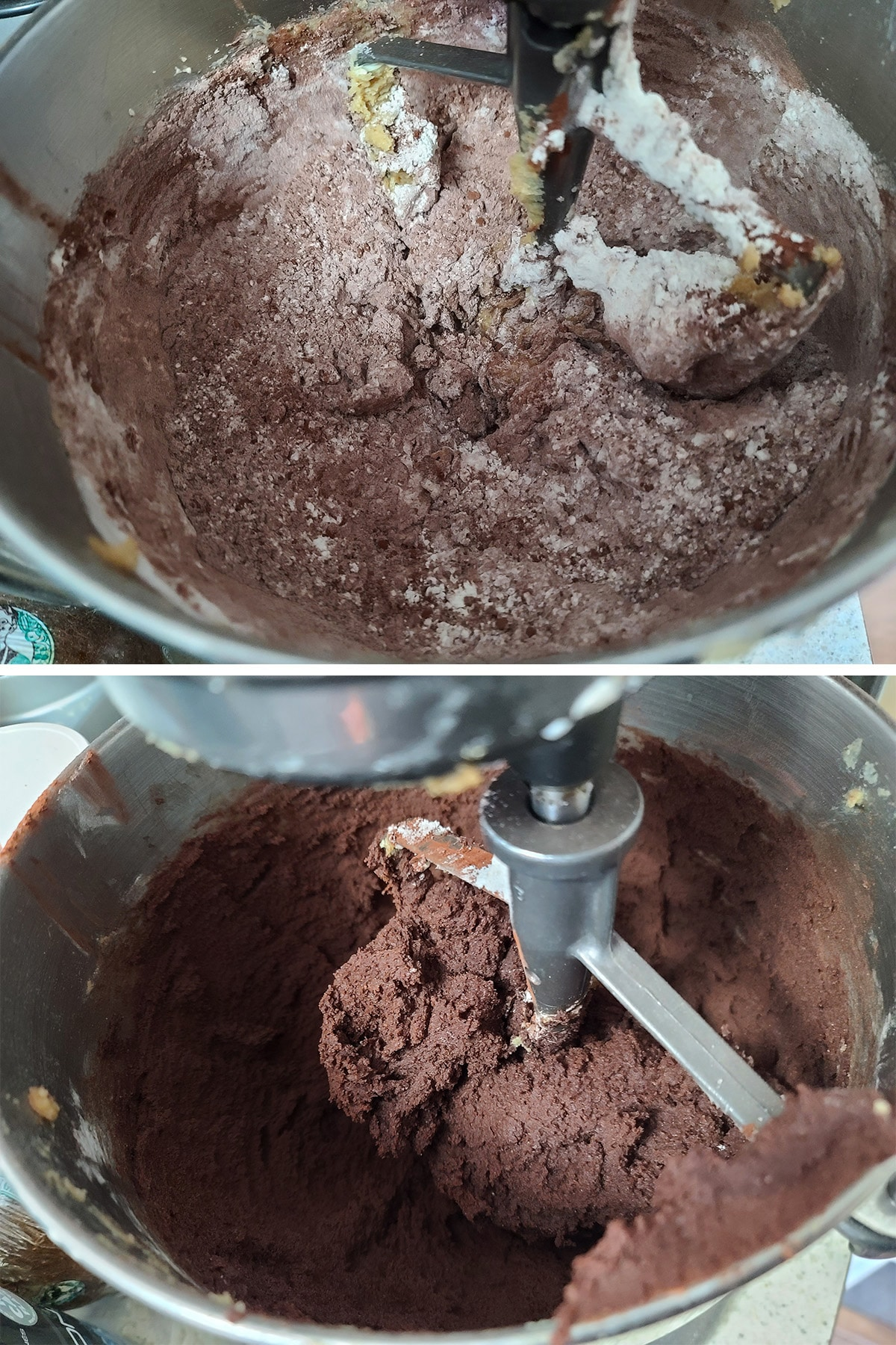 Cocoa and flour are added to the butter and sugar mix, and beaten to a dough.