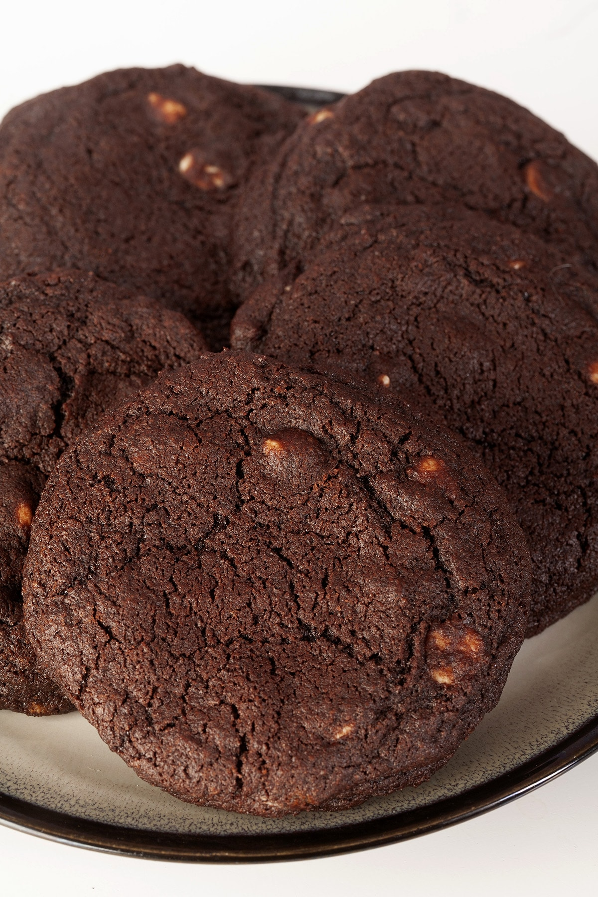 A plate of chewy chocolate white chip cookies.