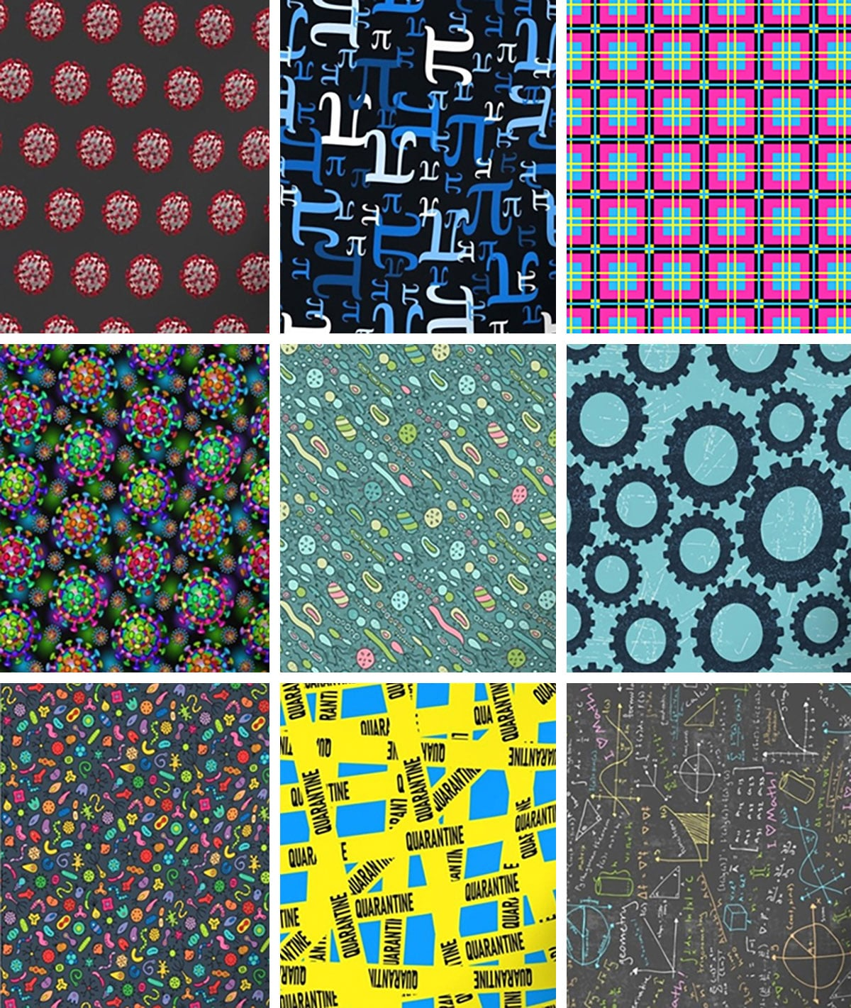 9 different brightly coloured fabric designs, most of which feature bacteria or virus illustrations.