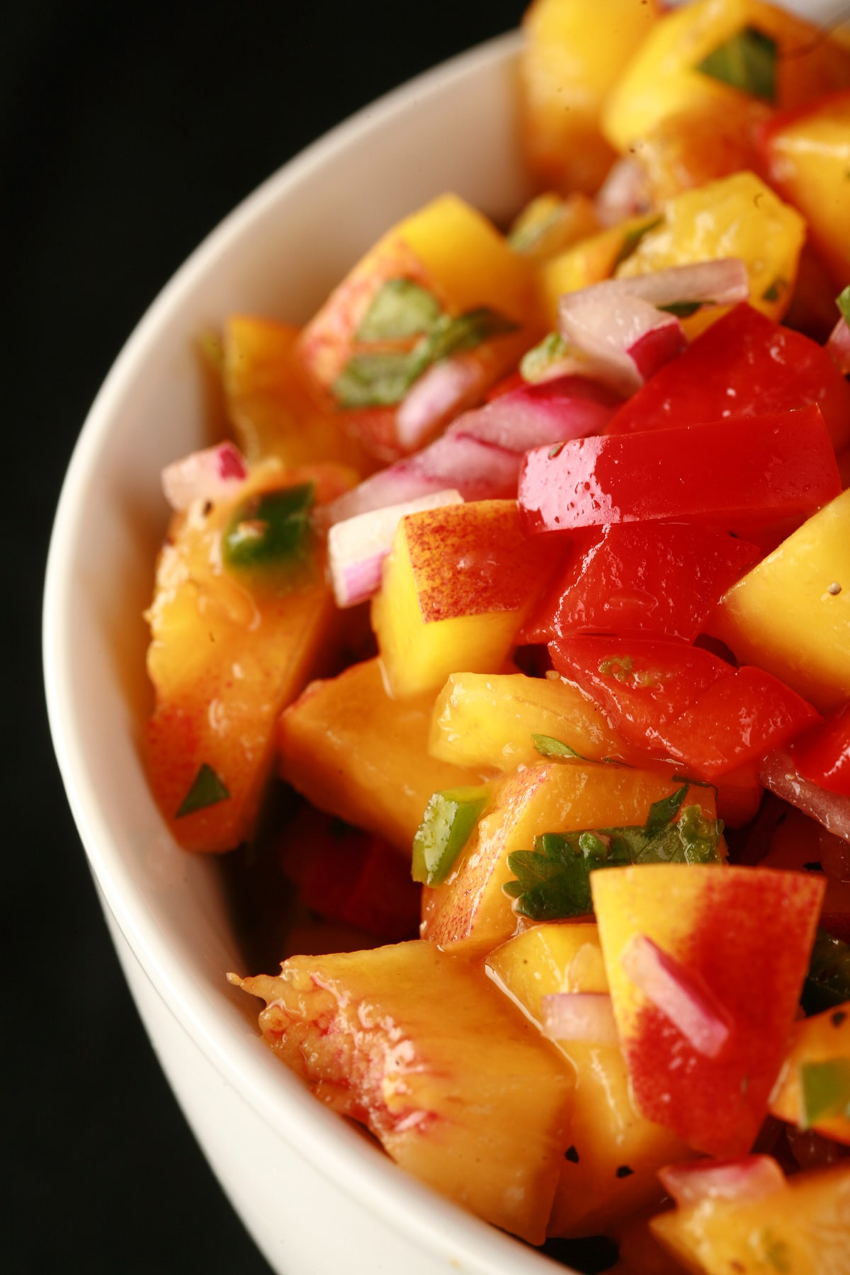 A close up photo of fruit salsa, with peaches, red pepper, red onions, jamapeno, and cilatro visible.