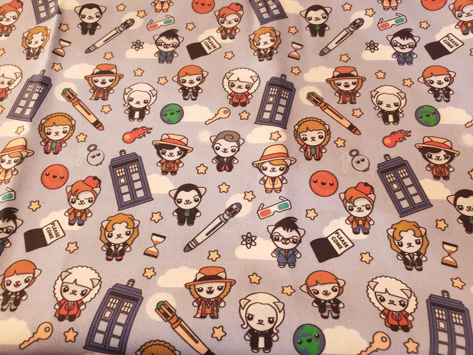 Fabric printed with Doctor Who themed cats