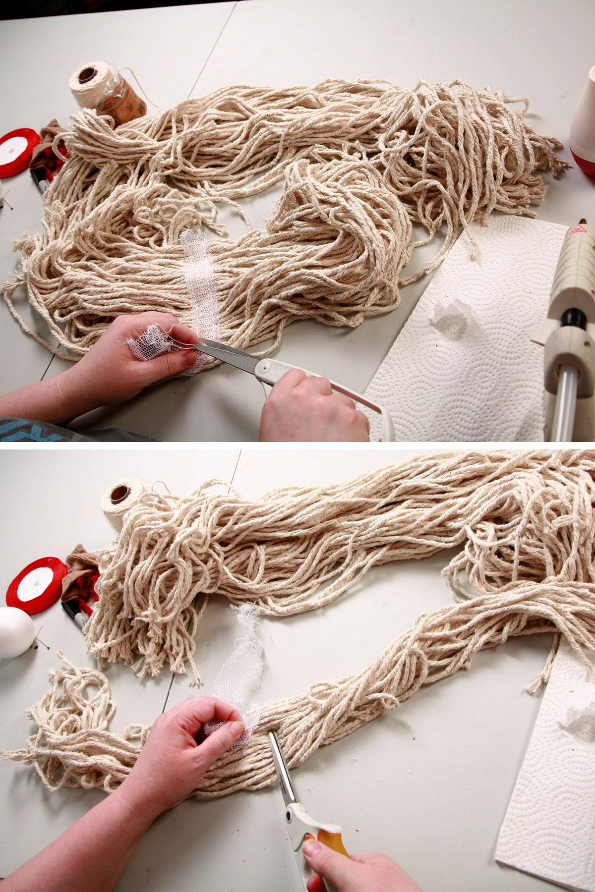 The binding being removed from the mop head.