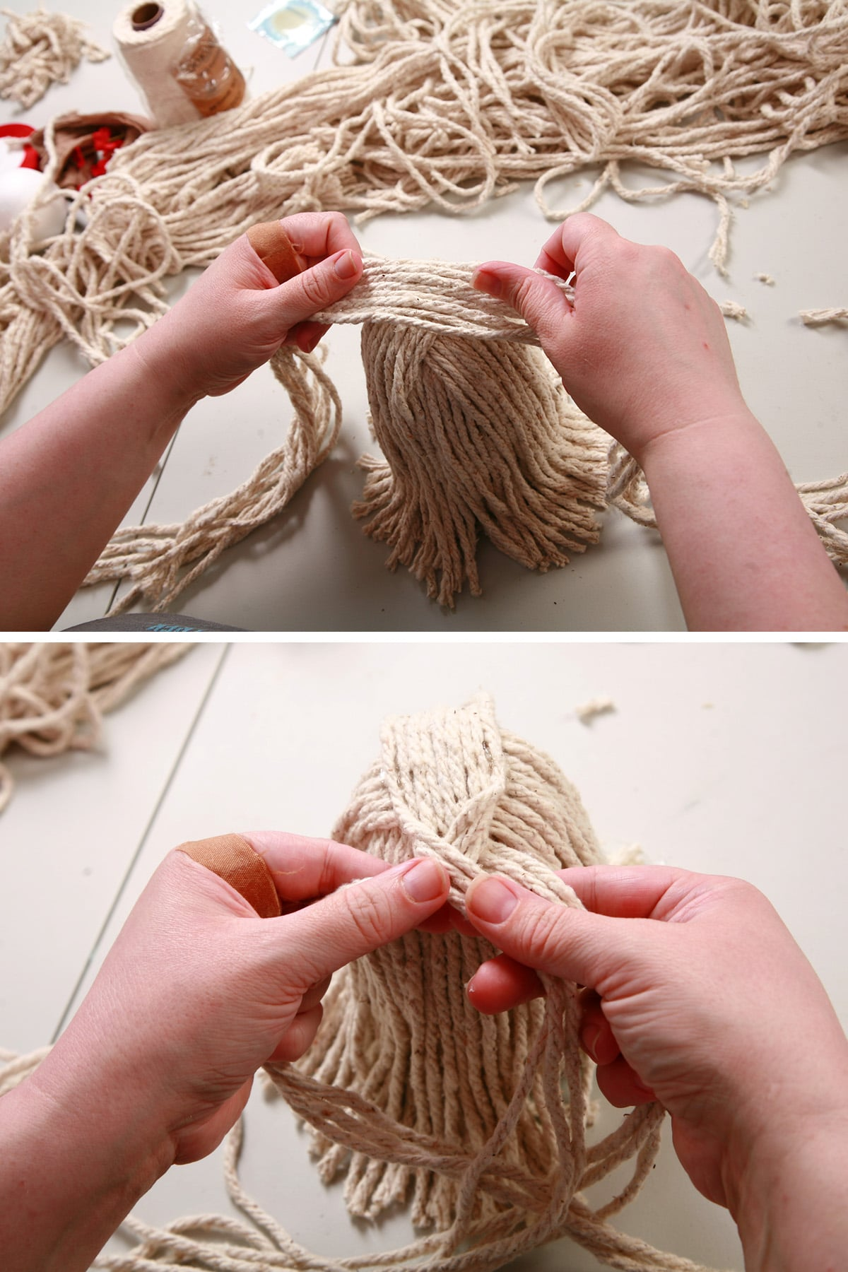 9 strands of yarn being glued down and braided.