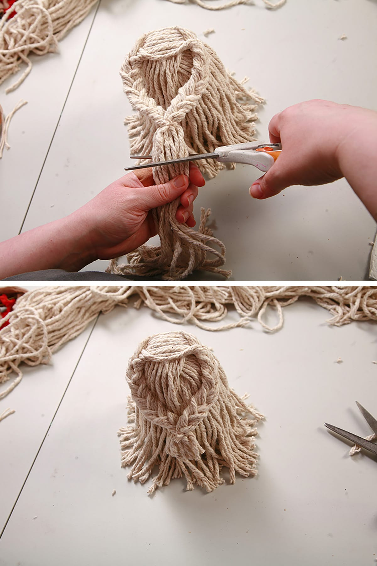 Ends of the braids being trimmed to form hands.
