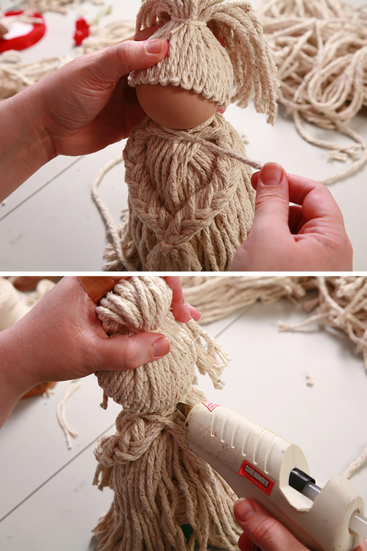 A length of string is glued to the base of the neck, wrapped around, and secured with glue.
