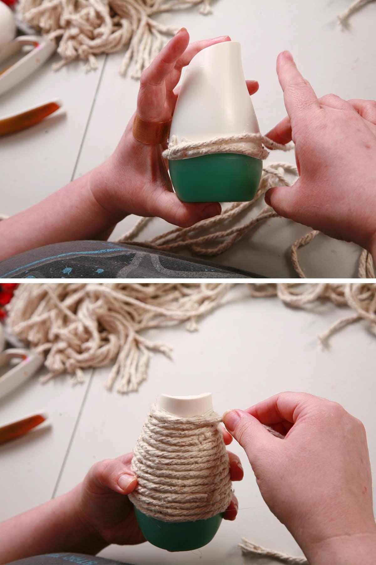 Yarn being wound around the stripped aur freshener.