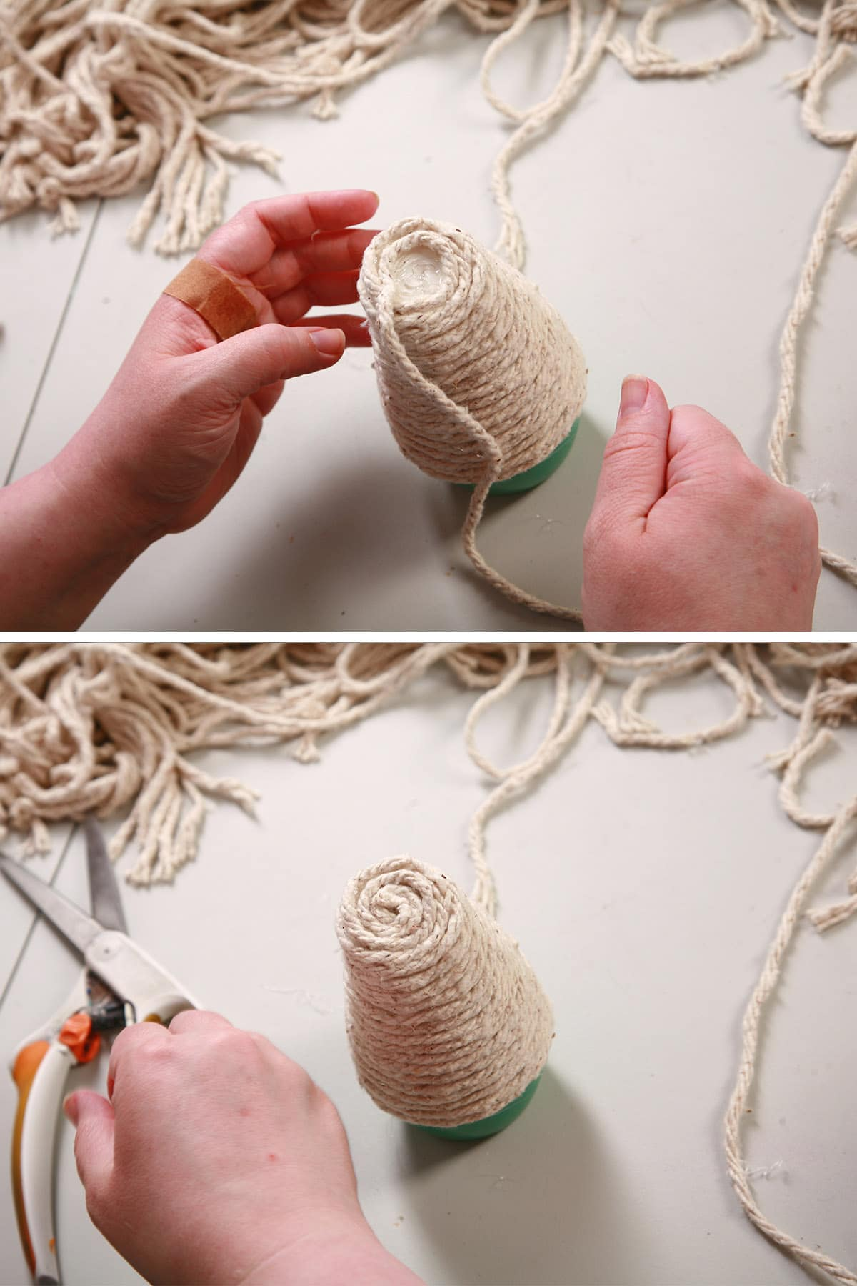 Yarn being coiled and glued into place on top of the air freshener.