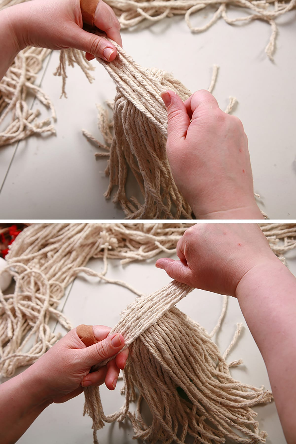 Strands of yarn being glued down to the top of the air freshener.
