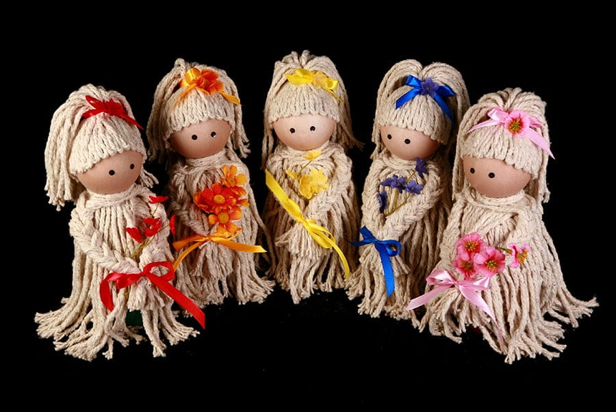 5 finished Mop Doll Air Fresheners in a row