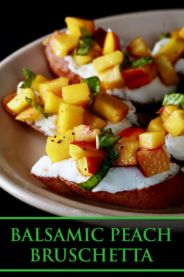 Small plate with peach-topped bruschetta