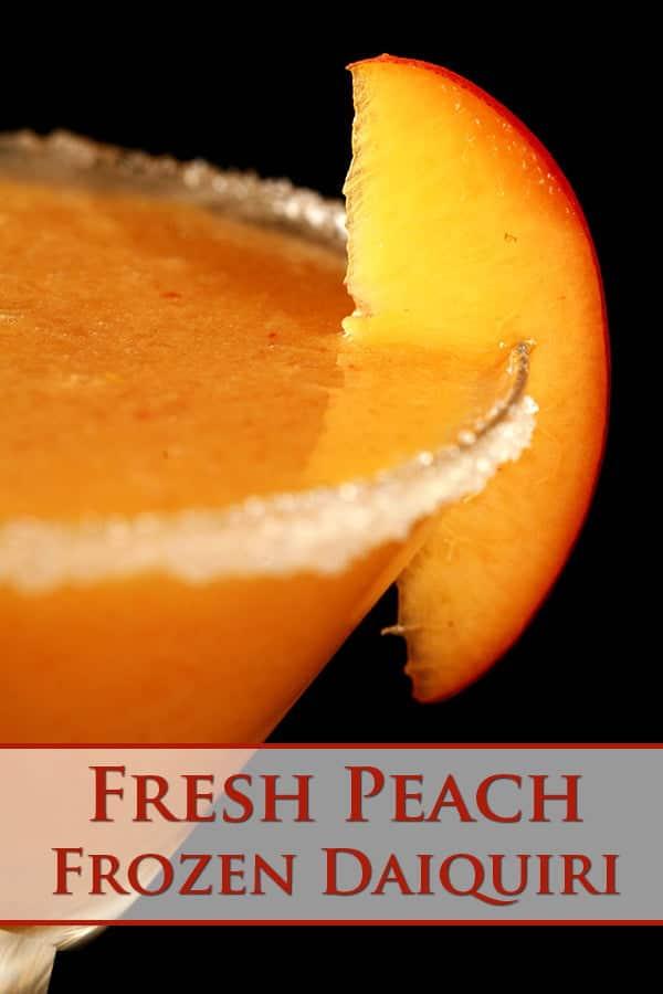 Pinterest image featuring a close up of a frozen peach daiquiri