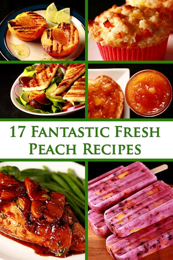 6 images of peach recipes in a collage