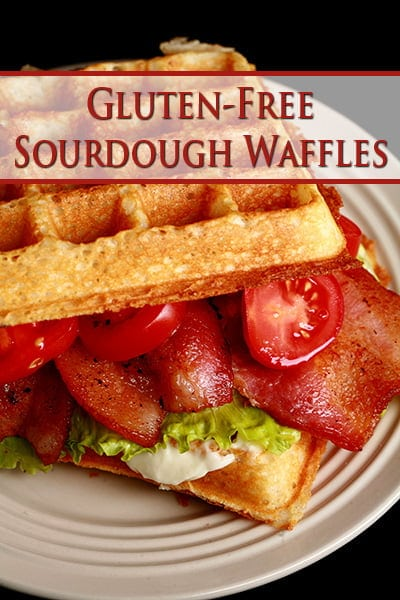 A waffle sandwich on a white plate.  The sandwich is willed with bacon, lettuce, tomatoes, and mayo