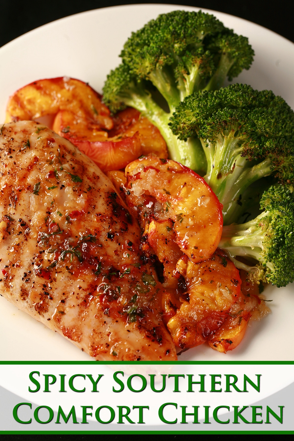 Image of a plate of food: 1 grilled Southern Comfort glazed chicken breast - visibly seasoned - grilled peach slices, and broccoli