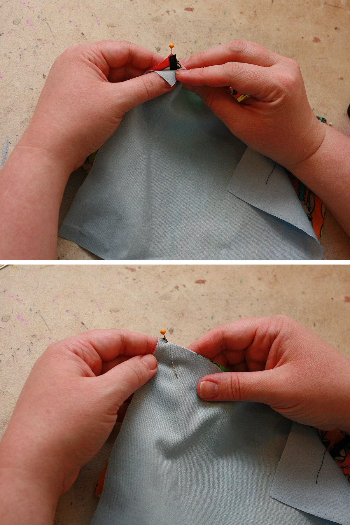 Two part image showing lining being pinned to the corners.
