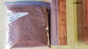 A ziplock baggie of wood chips is next to two pieces of wood.