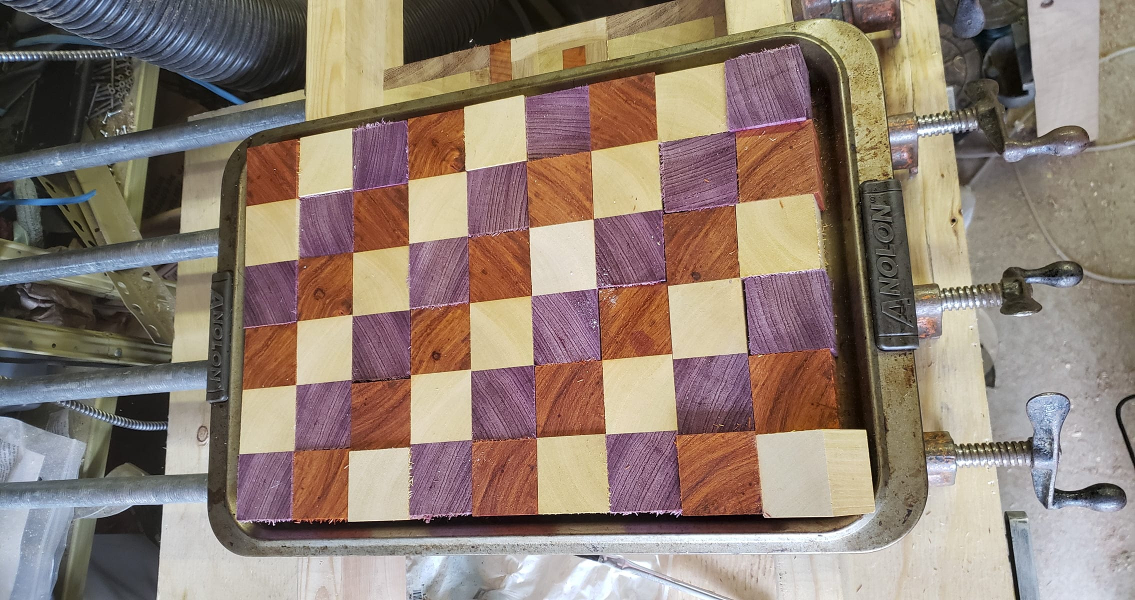 54 cubes are laid out in a grid on a cookie sheet