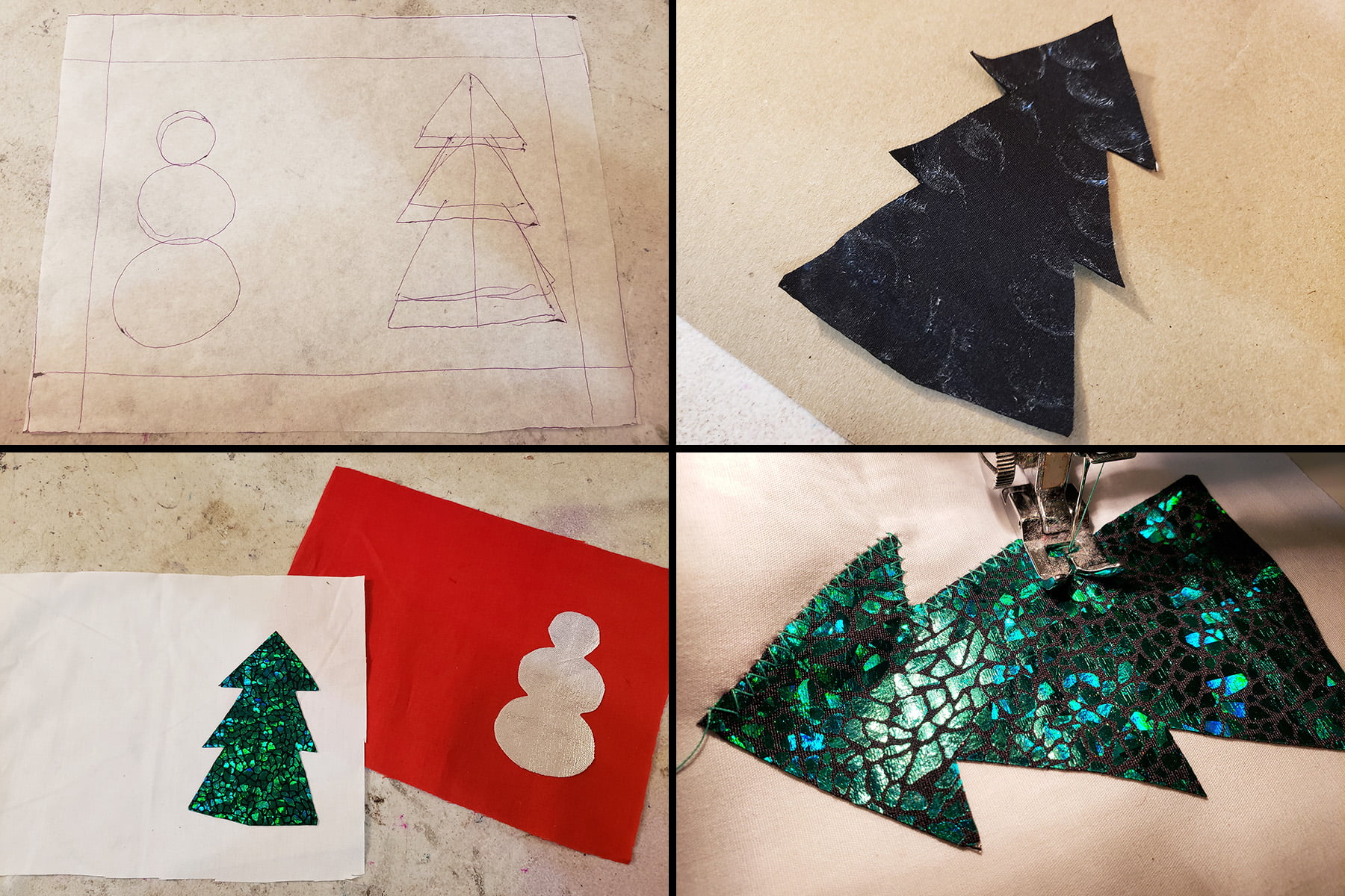 A montage photo demonstrating the applique technique described, in 4 steps.