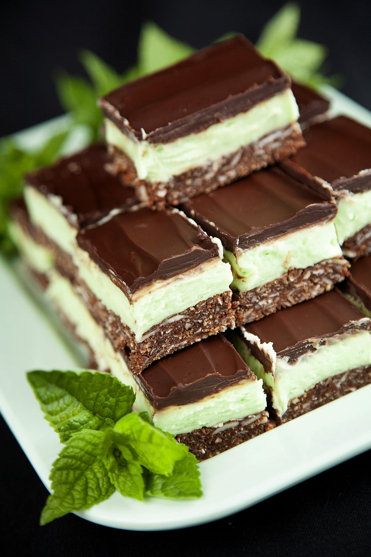 Close up view of a plate of Creme de Menthe Nanaimo Bars - a 3 layered bar. The top and bottom layers are chocolate, and the middle layer is a green buttercream. They are on a green plate, garnished with a sprig of fresh mint.