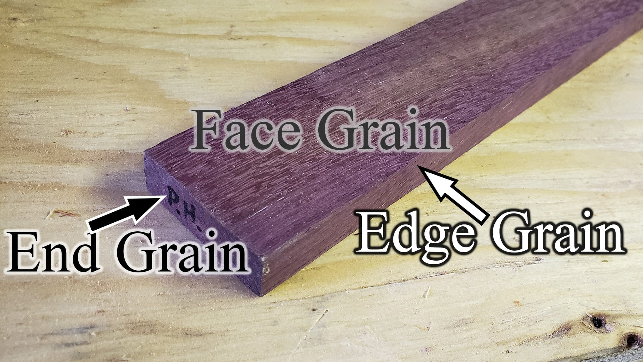 "A purple slab of wood, with ""face grain"" ""edge grain"" and ""end grain"" labeled."