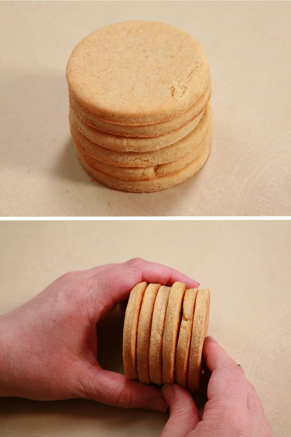 Stack of round, un-decorated cookies.