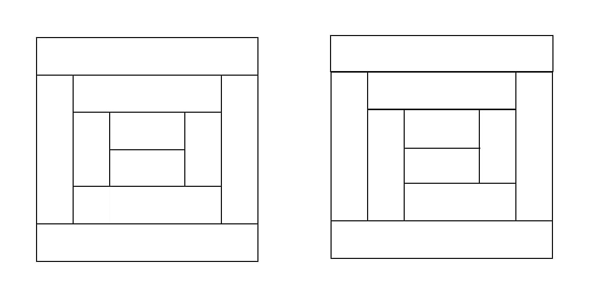 Two line drawings of squares made up from internal rectangles.