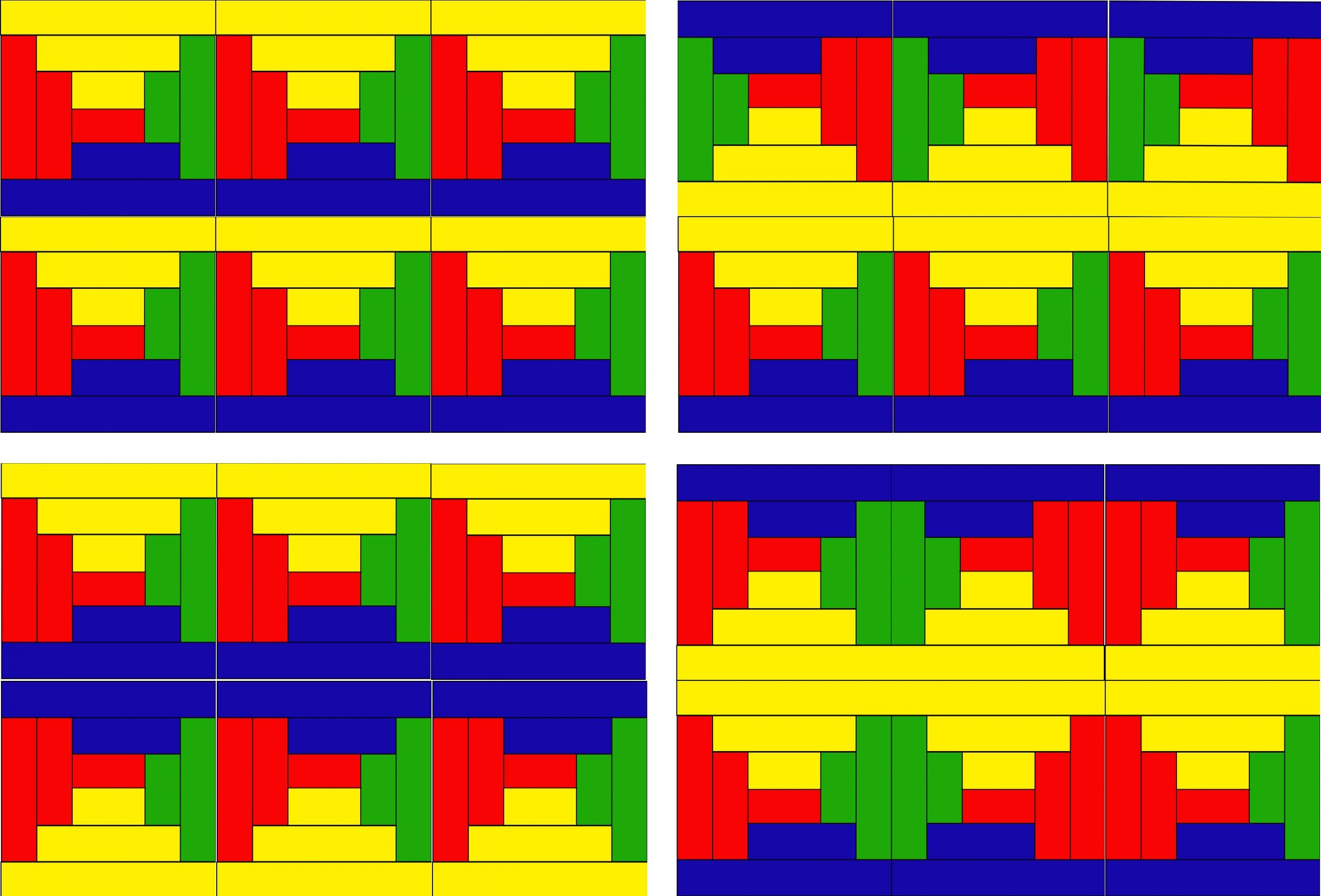 A graphic representation of 4 different rectangles made up up bars of red, yellow, green, and blue.