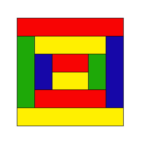 A graphic representation of a square made up up bars of red, yellow, green, and blue
