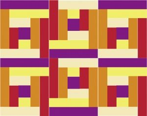 A multi-colored array of rectangles arranged in a repeating, but rotated pattern. The pattern repeats three wide, and two high.
