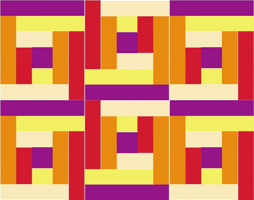 A brightly coloured geometric design of various lengths of rectangles