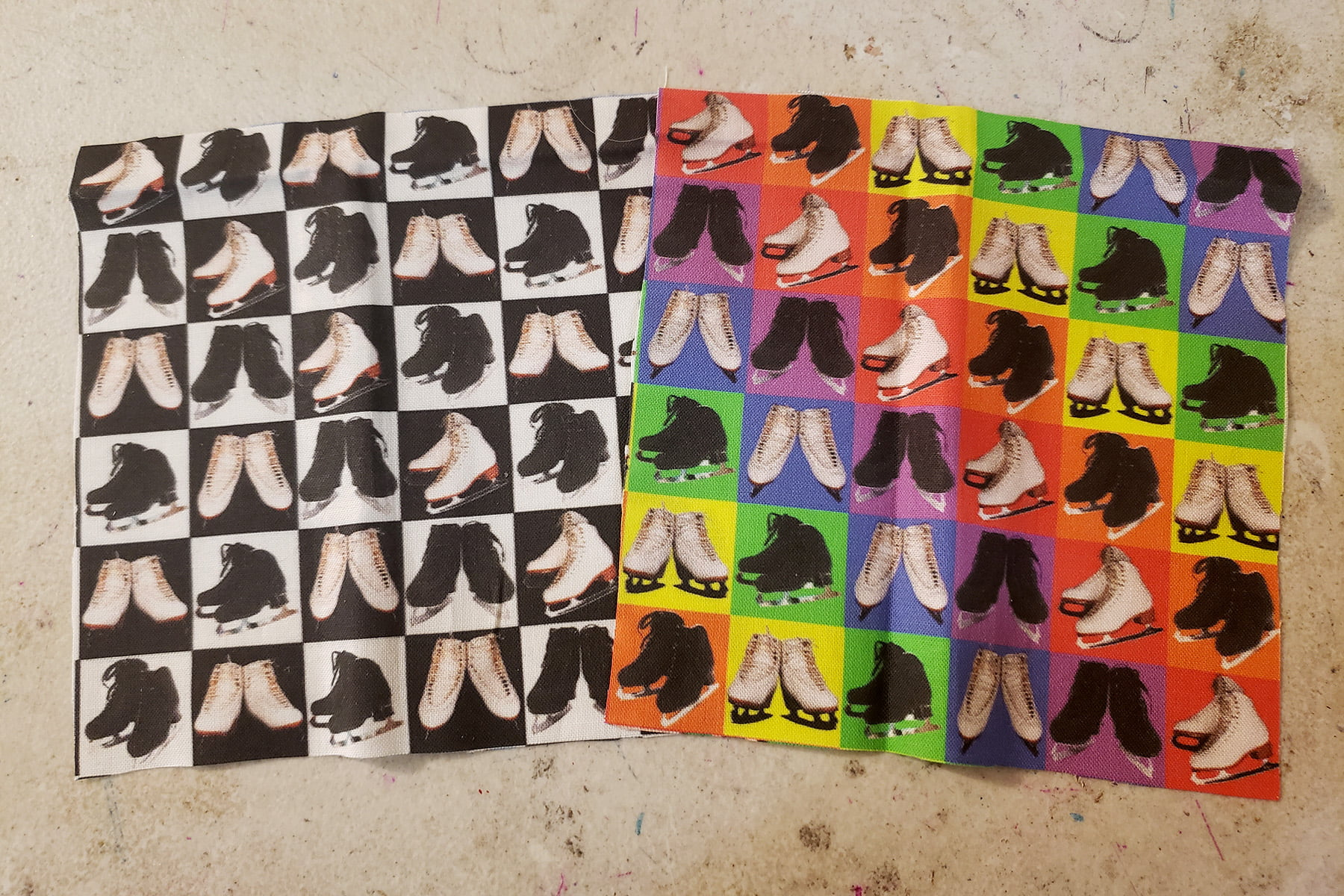 Photo of a selection of fabrics featuring white and black figure skates
