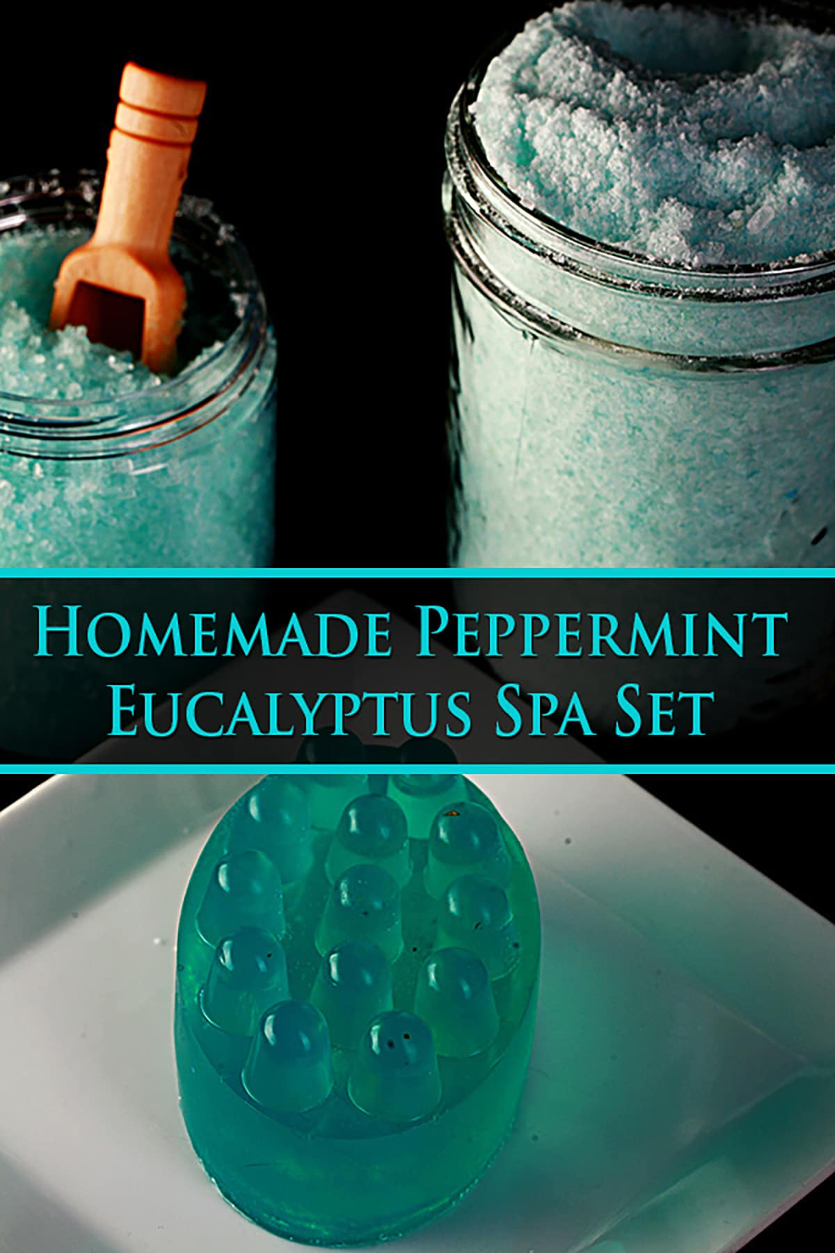 A three piece peppermint-eucalyptus bath set - bath salt, salt scrub, and a soap. Blue text says homemade peppermint eucalyptus spa set.