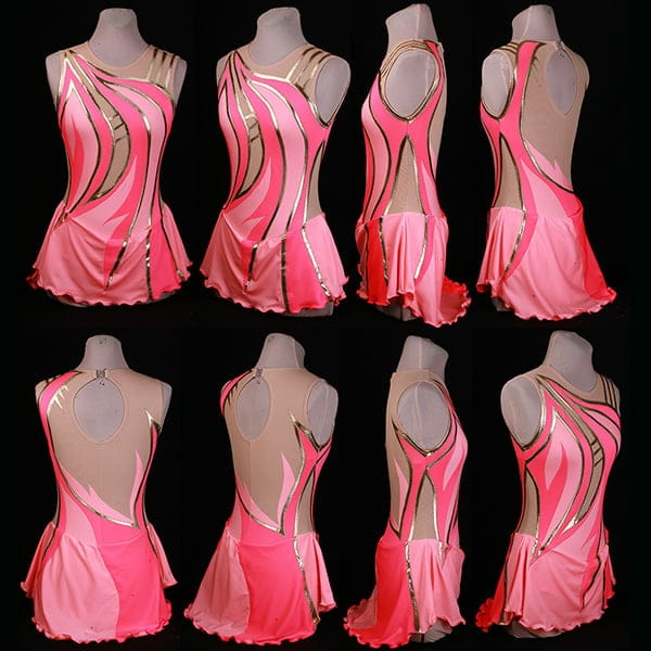 Image features 8 rotational views of a pink and coral skating dress with gold accents.
