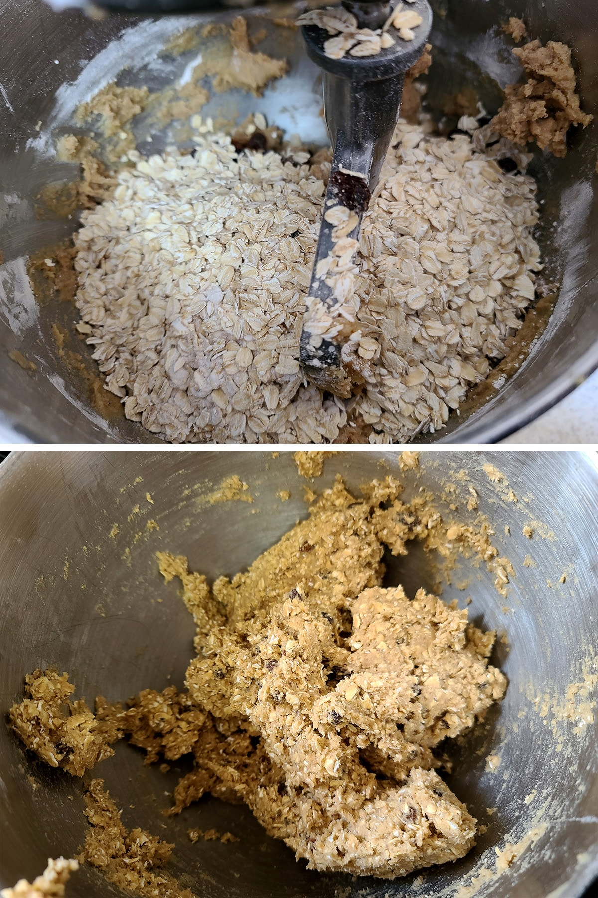 Oats and raisins added to the mixing bowl, and mixed into the cookie batter.