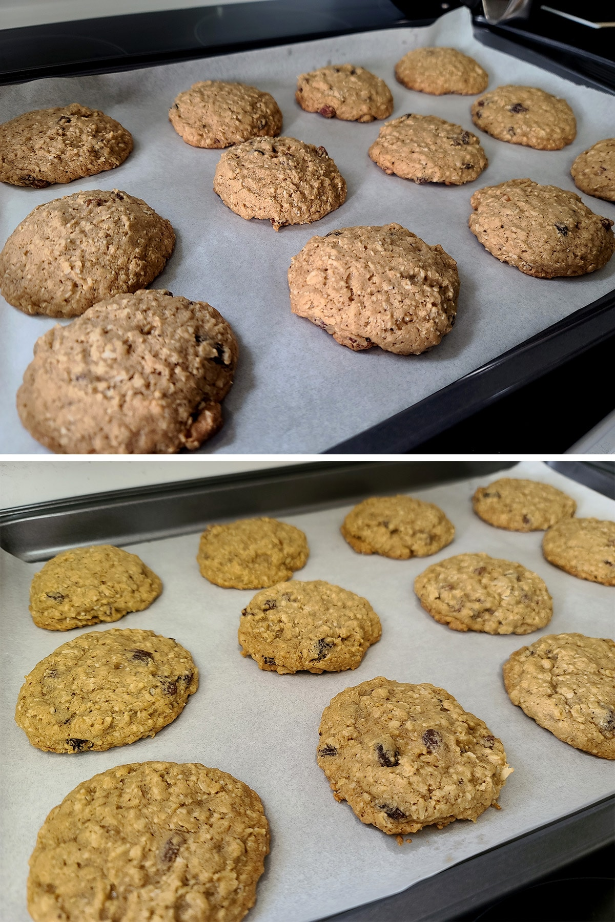 Baked cookies on a tray, before and after they've flattened a bit from cooling.