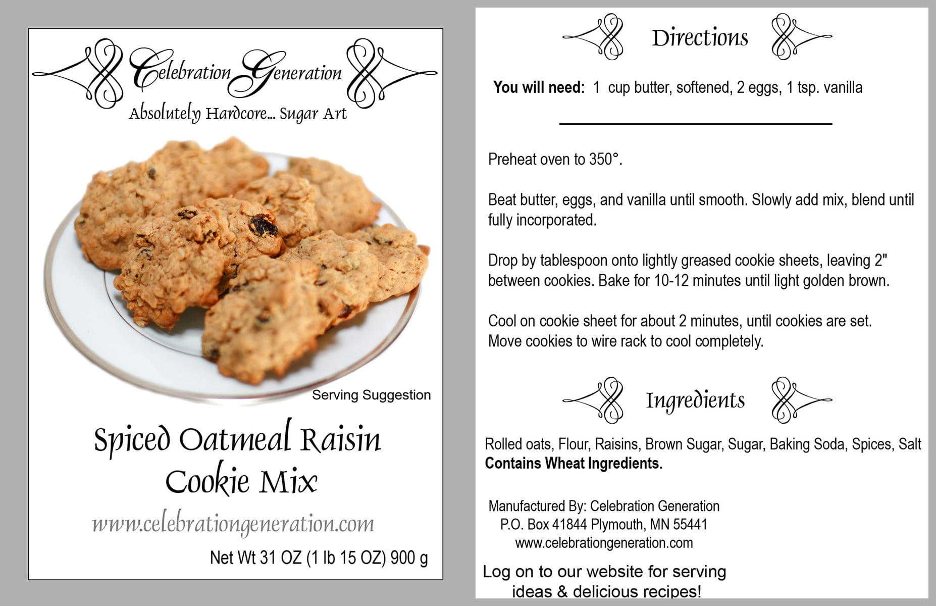 Front and back images of labels from a bag of spiced oatmeal raisin cookie mix.