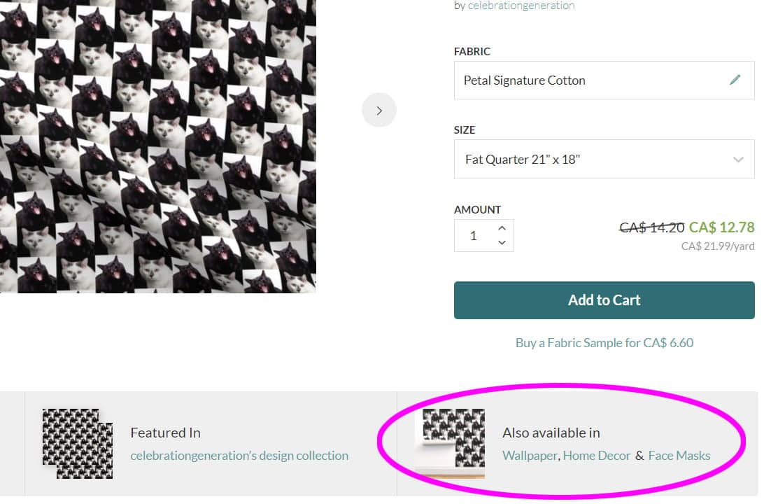 Screen shot of Spoonflower's website