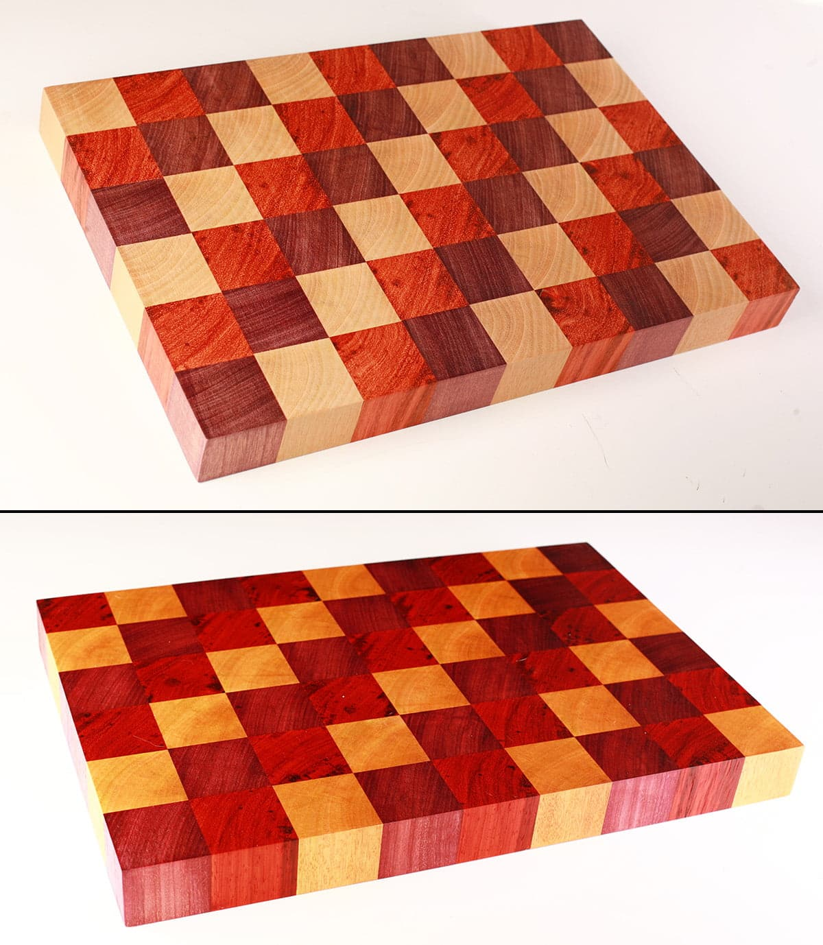 A close up view of 2 DIY cutting boards, each made up of colourful squares of wood - red, purple, and yellow.. The bottom one is darker and richer looking, as it's been finished with oil.