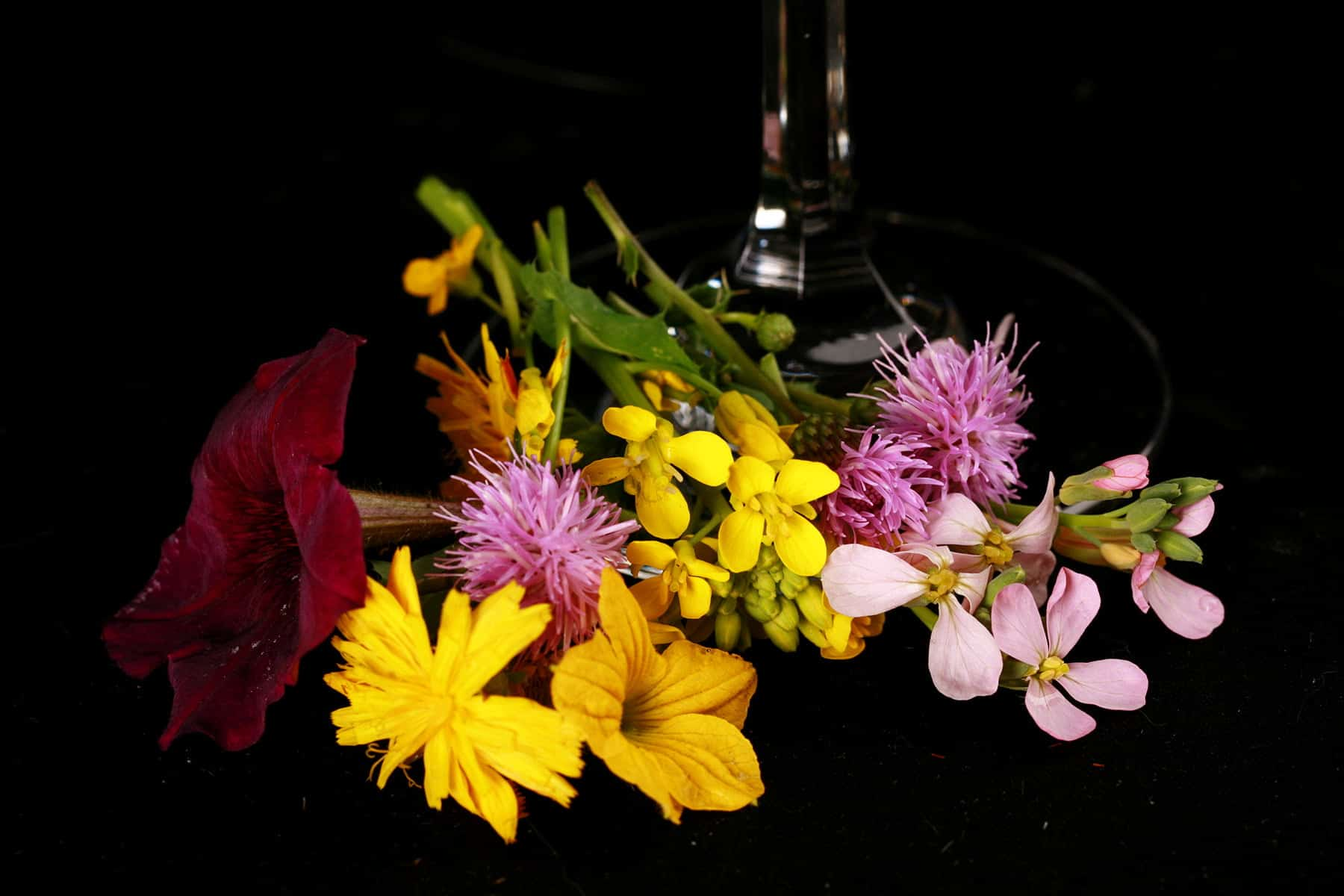 A small bunch of random wildflowers rest at the base of a wine glass.