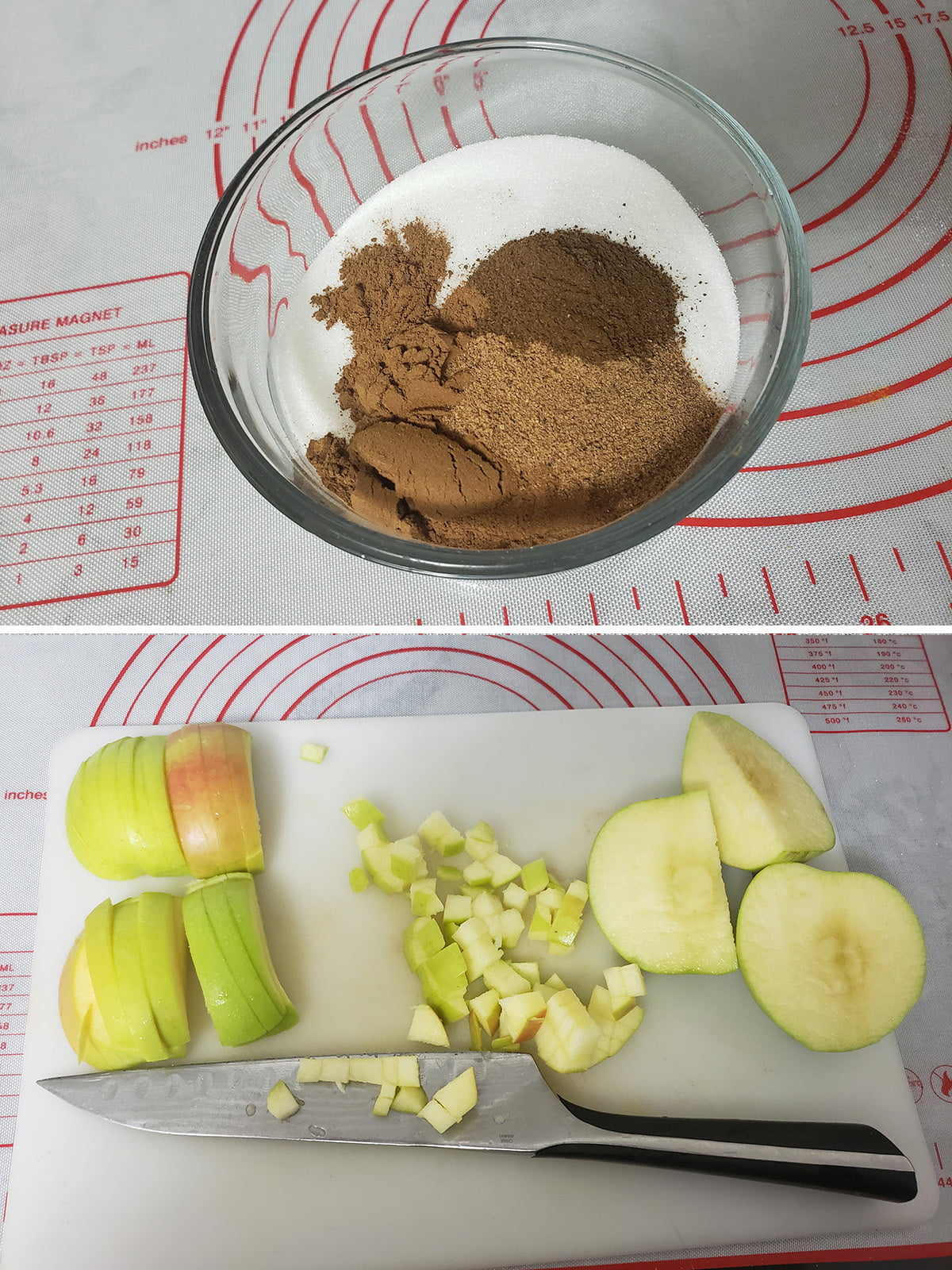 Two photos: The top one shows a bowl of sugar with spices measured out on top, the bottom is a white cutting board, a knife, and two apples in the process of being chopped up.